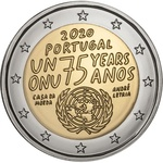 Portugal 2 Euro 2020a. 75th anniversary of the United Nations UNC