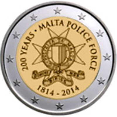 "MALTA 2 EURO 2014 ""200 Years Malta Police Force"", UNC"